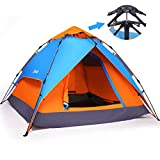 Yodo 3-Way Pop Up Instant Tent with Waterproof Rainfly,for Camping 2-4 Person (2 Adults/ 3-4 Teens or Kids),, Blue/ Orange