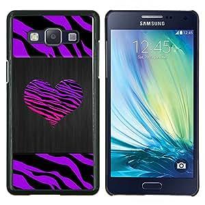 EJOOY---Cubierta de la caja de protección para la piel dura ** Samsung Galaxy A5 A5000 ** --Rayas del corazón Metal cepillado púrpura