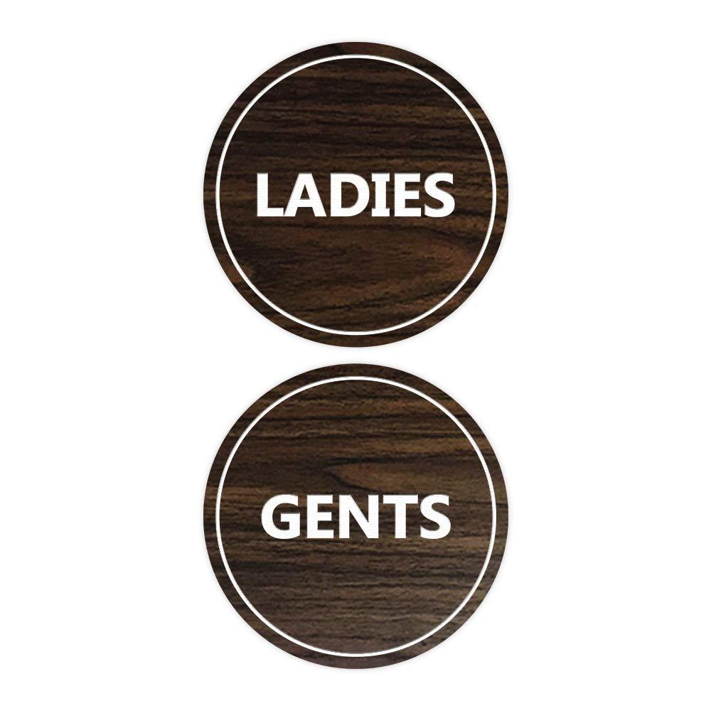 Medium Dark Brown Signs ByLITA Circle Ladies and Gents Sign Set