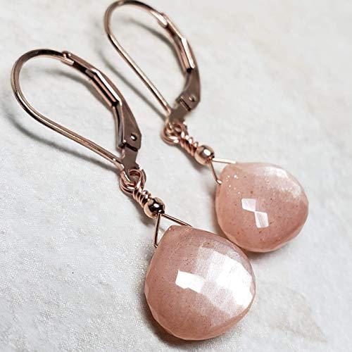 - Microfaceted Peach Moonstone Earrings, 14k Rose Gold-Filled
