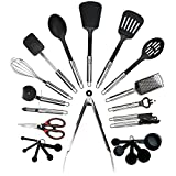 Qualikitchen Premium Cooking kitchen Utensil Set: 23 Pieces of Tools Made of Lightweight Stainless Steel and Strong Black Nylon plus Printed Guide