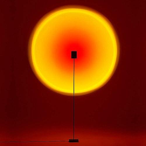 QUARKJK LED Floor Lamp Sunset Projection Floor Lamps Bar Party Home Decoration Atmosphere Light Multi-Angle Adjustment Selfie Background Wall Atmosphere Lights