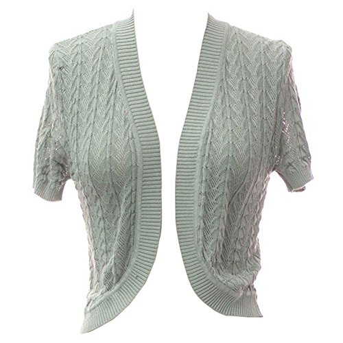 Plum Feathers Leaf Knit Short Sleeve Bolero Shrug Sweater Cover up Cardigan (Silver, Large/X-Large) by Plum Feathers