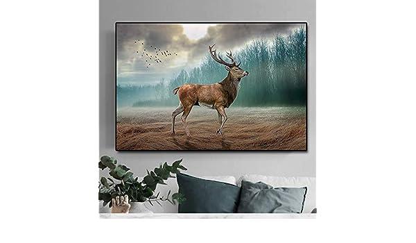 ganlanshu Decoración de Ciervos del Bosque Ciervos de Animales en Lienzo impresión de Arte póster Mural hogar Dormitorio decoración de la Pared,Pintura sin Marco,60x90cm: Amazon.es: Hogar