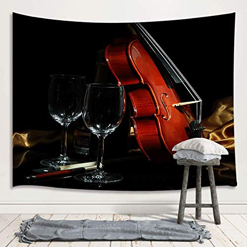 Musical Instrument Tapestry Wall Hanging, Violin and Glass Goblet Music Theme Home Art Wall Decor Large Tapestries for Bedroom Living Room College Dorm 71X60 Inches, Black
