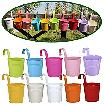 Dproptel Set Of 10 Garden Pots Hanging Buckets Hanging Planter Metal Flower  Pots With Removeable Handle
