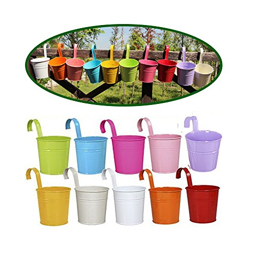 Dproptel Set of 10 Garden Pots Hanging Buckets Hanging Planter Metal Flower Pots with Removeable Handle for Flower Bucket Balcony Planter (Style Bucket Hook)