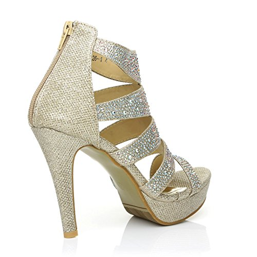 High Sandals Platform Heel Gold Toe Encrusted Diamante Peep Champagne Caged LUXE qxUBw7n1X1