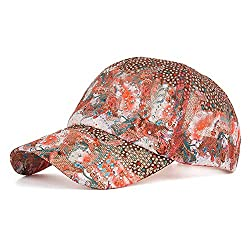 Floral Printed Glittering Sequined Cap