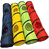 OMNI Kitty Cat Play Tunnel Pet Toy - Four Exit Holes - 4 Feet Long - Yellow
