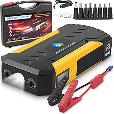 800A Peak 18000mAh Portable Car Jump Starter By PQS With Smart Jumper Cables (Up to 6.0L Gas or 5.0L Diesel Engines) Auto Battery Booster Power Pack Phone Power Bank With 4 Smart Charging Ports