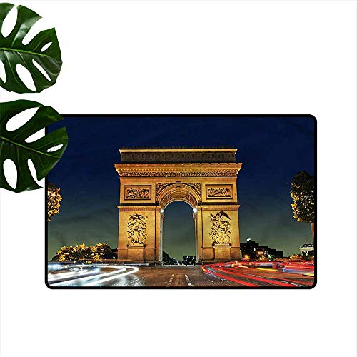 - Interesting Doormat Paris Touristic Entrance Roundabout Non-Slip Door mat pad Machine can be Washed W20 xL31