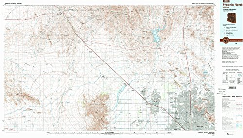 YellowMaps Phoenix North AZ topo map, 1:100000 Scale, 30 X 60 Minute, Historical, 1988, Updated 1989, 24.1 x 42.3 in - Paper (Gate Gate Manor Manor)