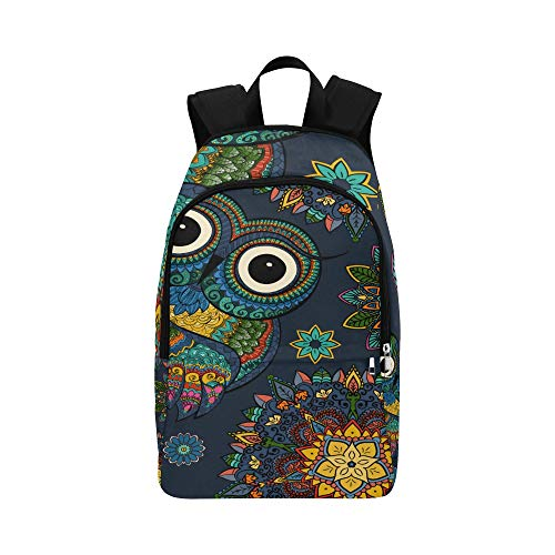 IIAKXNB Ethnic Style Dark Blue Ornamental Owl Casual Daypack Travel Bag College School Backpack Mens Women