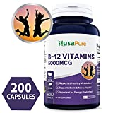 Best Vitamin B12 – 5000 MCG 200 capsules (NON-GMO & Gluten Free) – Max Strength Vitamin B 12 Support to Help Boost Natural Energy, Benefit Heart Function – 100% MONEY BACK GUARANTEE!