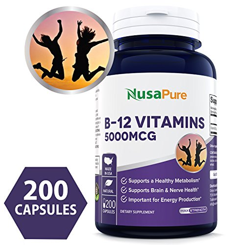 Best Vitamin B12 - 5000 MCG 200 capsules (NON-GMO & Gluten Free) - Max Strength Vitamin B 12 Support to Help Boost Natural Energy, Benefit Heart Function - 100% MONEY BACK GUARANTEE!