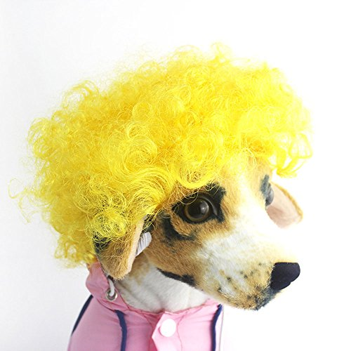 [Efanr Pet Headdress Wig Funny Dog Cat Blonde Short Wigs Syethetic Hair Cosplay Costumes Grooming Accessories Fancy Dress Up Curly Hair Accessories] (60s Dress Up Costumes)