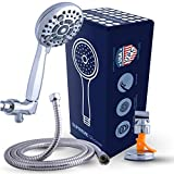 Luxury High Pressure XL Handheld Shower Head with 6 Spray Settings and Extra-Long Hose for High-Performance Shower Experience - Accredit with cUPC: Standard US Uniform Plumbing Code Certificate