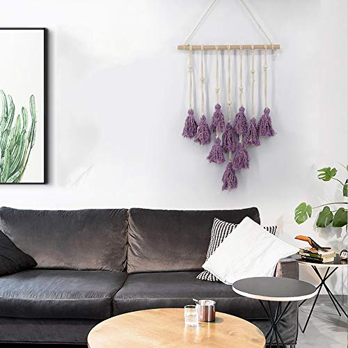 Hot Sale!DEESEE(TM)Wall Hanging Handwoven Bohemian Cotton Rope Boho Tapestry Home Decor (Purple) ()