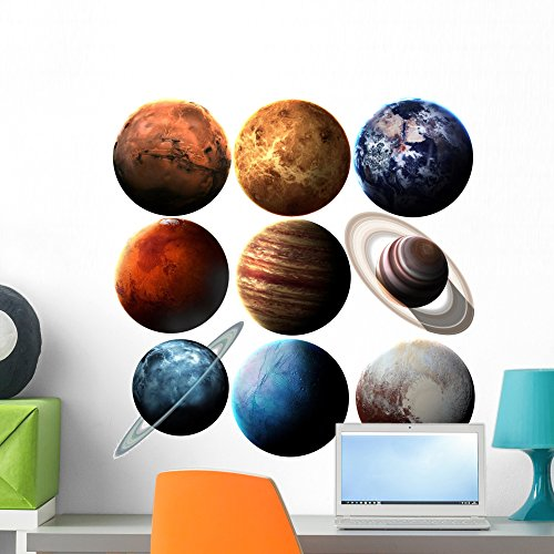 Wallmonkeys NASA Solar System Planets Wall Decal Sticker Set Individual Peel and Stick Graphics on a (24 in H x 24 in W) Sticker Sheet ()
