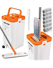 Flat Squeeze Mop and Bucket Set with 3PCS Microfiber Pads for Floor Cleaning Self Wring Mop and Bucket System Separate Dirty Water from Clean Water
