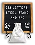 "Black Felt Letter Board (10"" x 10"") - Changeable Wooden Letter Board Oak Frame Including 362 White Letters / Numbers & Emojis, Letter Bag, Steel Stand and Wall Mount - By Litterae"