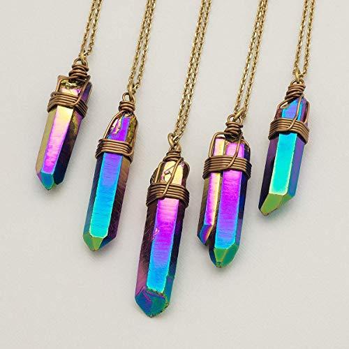 Rainbow Titanium Crystal Quartz Point Antique Bronze Necklace 22 Inches