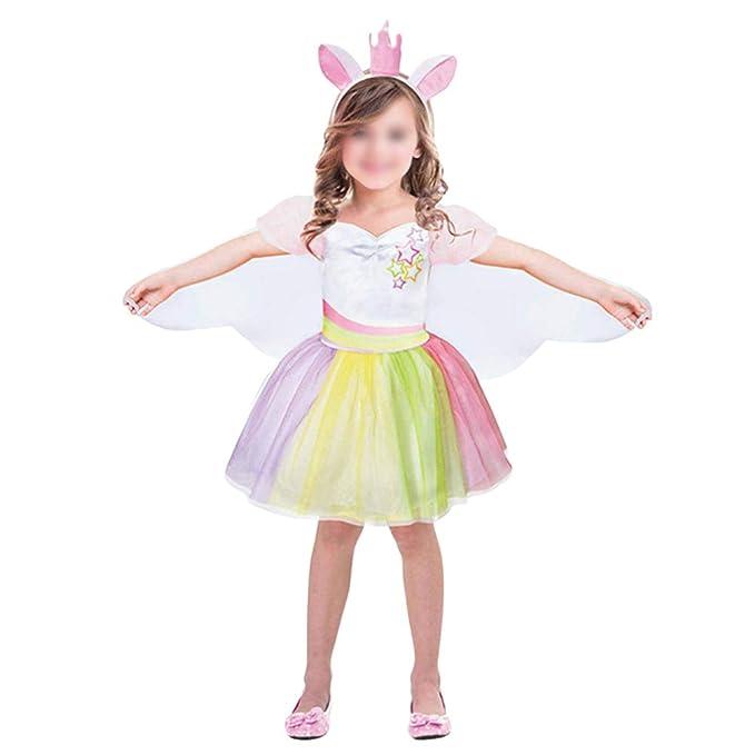 Amazon.com: Vestido de unicornio con arco iris, princesa ...
