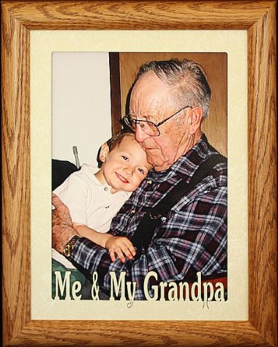 [5x7 JUMBO ~ ME & MY GRANDPA Portrait Picture Frame ~ Laser Cream Marble Mat with Fruitwood Stained Oak Frame] (Ivory Cream Marble)
