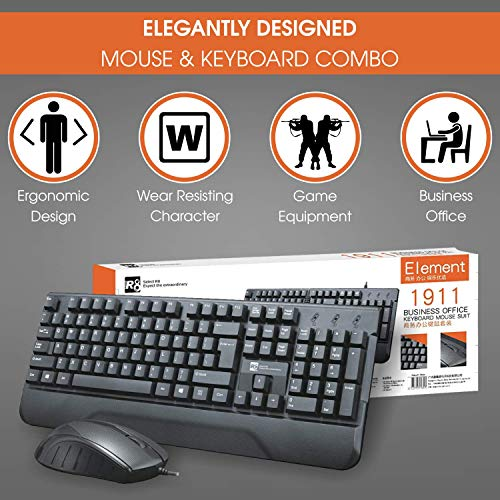 BRIX KM1911 Wired Keyboard and Mouse Combo, Computer USB Office Keyboard