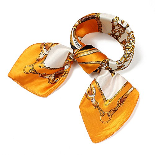 (QBSM Womens Orange Gold Chain Satin Silk Square Neck Head Scarfs Night Hair)