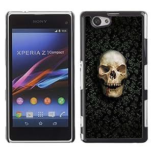 Be Good Phone Accessory // Dura Cáscara cubierta Protectora Caso Carcasa Funda de Protección para Sony Xperia Z1 Compact D5503 // Funny Goth Evil Skull