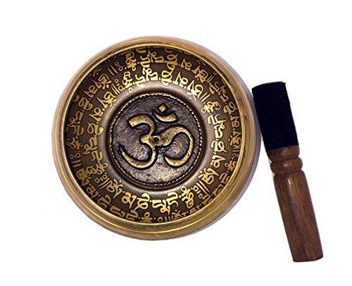 - Large Tibetan Singing Bowl Set-Buddhist Symbols Printed 5