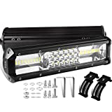 #4: XYH LED Light Bar 12 Inch 162W LED Work Light Off Road 54Led Tri-Row Driving Lights for Jeep Rzr ATV UTV SUV Truck Pickup Boat