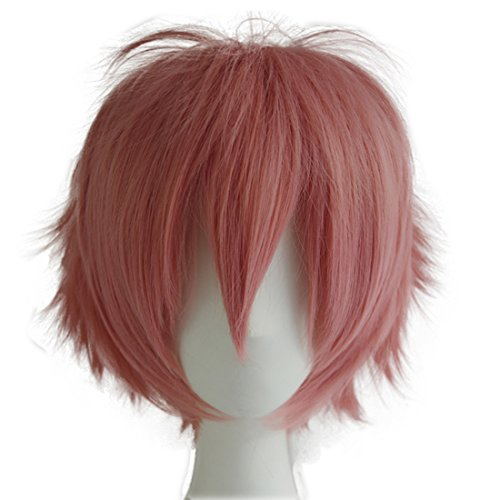 Make It Yourself Halloween Costumes For Couples (Alacos  Cosplay Wigs Short Pink Halloween Party Full Head Wig Hair with Cap Anime Wig+ Free Wig Cap)