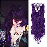 8PCS Clip in Hair Extensions Straight Wavy Curly Full Head Women Colorful Highlight Ombre Hairpiece -24' Curly,Black Purple