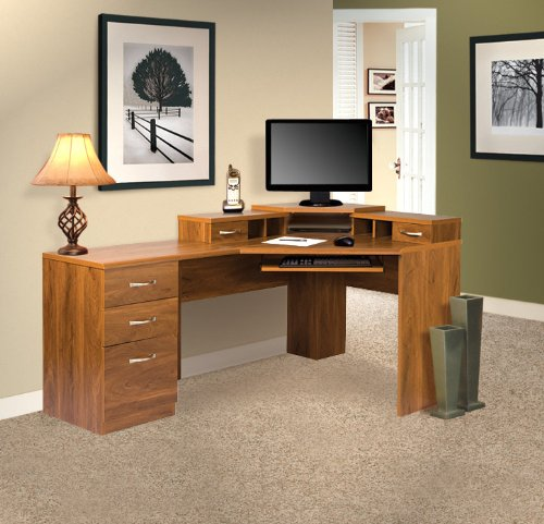 American Furniture Classics Os Home & Office Corner Computer Workstation with Reversible Drawers, Large, Autumn Oak - Legends Office Furniture