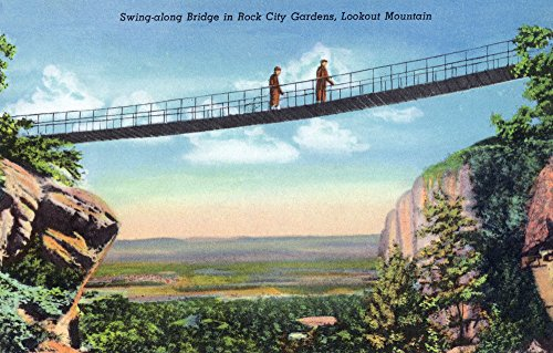 Swing Along Bridge - Lookout Mountain, TN - Rock City Gardens; View of Tourists Crossing a Swing-Along Bridge (24x36 SIGNED Print Master Giclee Print w/Certificate of Authenticity - Wall Decor Travel Poster)