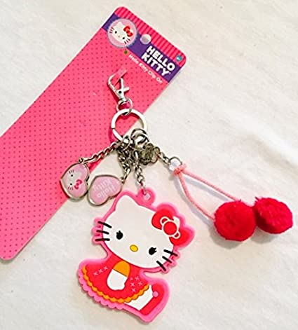 64c52eba5 Amazon.com: Hello Kitty Clip On Keychain Dangles with charms and pom pom:  Automotive