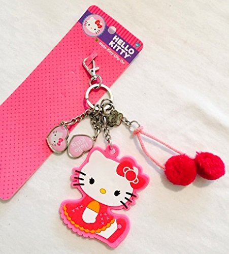 Hello Kitty Clip On Keychain Dangles with charms and pom pom