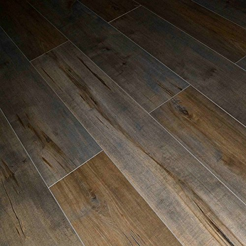 Multi Gray and Brown Dekorman 1551 Latte Birch 12mm Thick x 7.72in Wide x 48in Length Click-Locking Laminate Flooring Planks