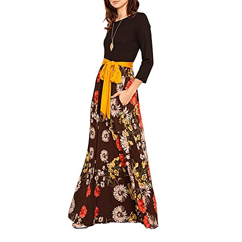 SEBOWEL Women Loose Maxi Dress Floral Print Scoop Neck 3/4 Sleeve Casual Dresses Side Pockets Brown-S