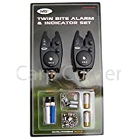 Carp Fishing Bite Alarm Set With 2 x Alarms 2x Hangers Indicator and 2x Batteries Included