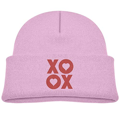 (XOXO Hugs and Kisses Valentine's Day Children's Daily Beanie Hat Outdoor Skull Cap Warm Hat Knitted Beanies Pink)