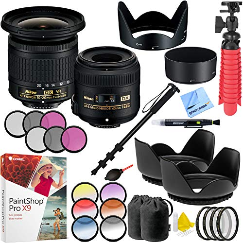 Nikon Landscape and Macro Two Lens Kit with AF-P 10-20mm VR and AF-S 40mm Lens Plus Filter Sets and Accessories Bundle