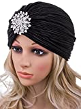 Vijiv Women's Vintage Lurex Knit Turban Beanie Hats Headwraps For 1920s Cocktail Party Black