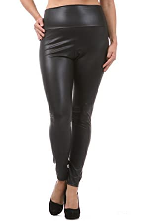 Plus Size Faux Leather High Waist Women Leggings Pants - Black ...