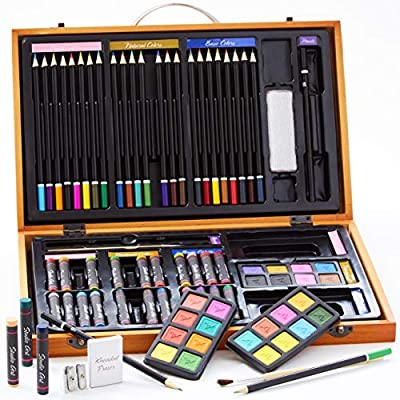 Budding Artist Deluxe 80pc Beginners Gift Set with Case for Creative Boys and Girls. Hours of Drawing, Painting and Coloring Fun for Kids. The Best Art Kit for Birthday, Christmas or Hanukkah Presents: Arts, Crafts & Sewing