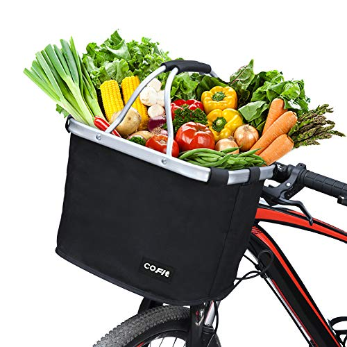 Cheapest Price! COFIT Collapsible Bike Basket, Multi-Purpose Bicycle Handle Basket for Pet Carrier, ...