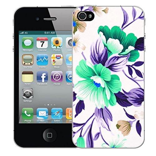 Mobile Case Mate iphone 4s Dur Coque couverture case cover Pare-chocs - turquoise flower Motif avec Stylet